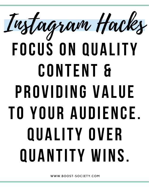 Focus on quality content and providing value to your audience. Quality over quantity wins on Instagram.