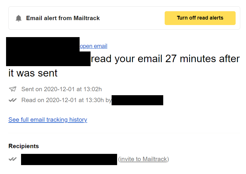 Email alert from mailtrack pro, one of the best apps for content creators