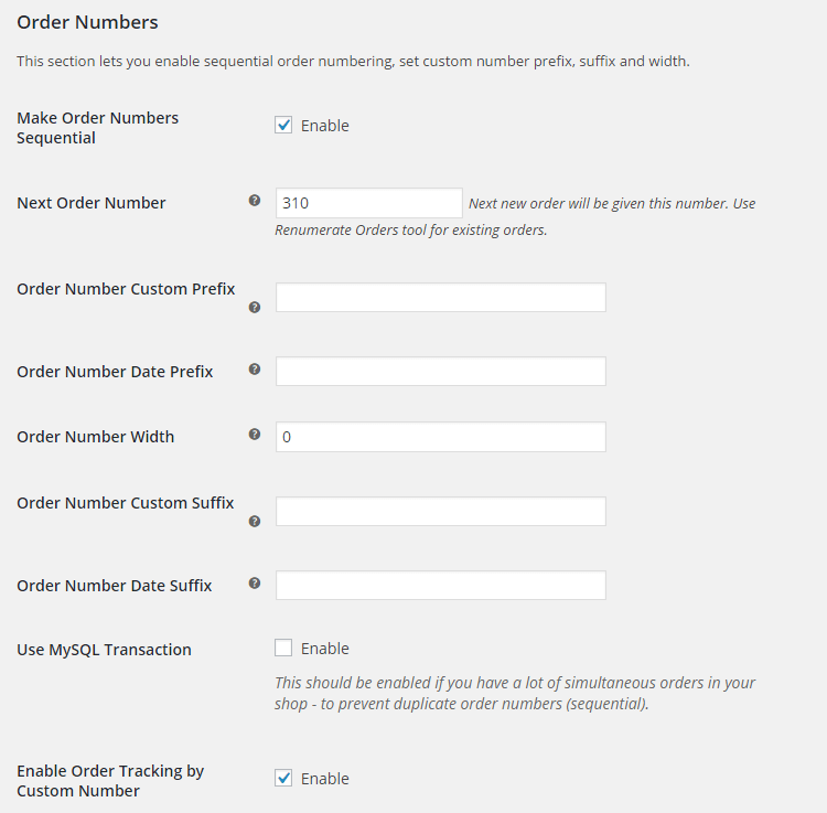 WooCommerce Custom Order Numbers - Admin Settings