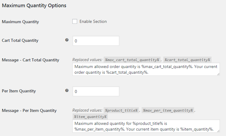 WooCommerce Order Min Max Quantities - Admin Settings - Maximum Quantity Options