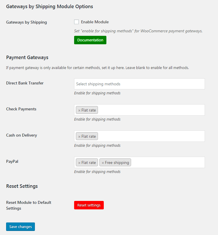 WooCommerce Payment Gateways by Shipping