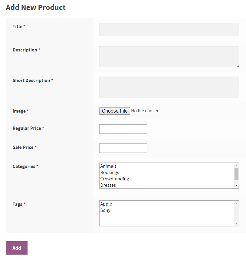 WooCommerce Product by User - Frontend