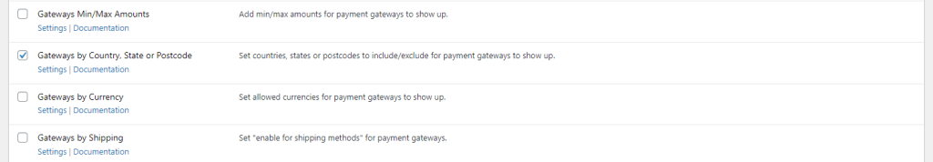 Payment Gateways by Country or State module
