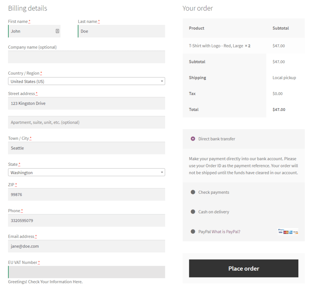 WooCommerce EU VAT preview