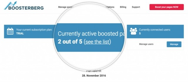 Boosterberg Automated Facebook Post Boosting - Central management of pages and users with single business account