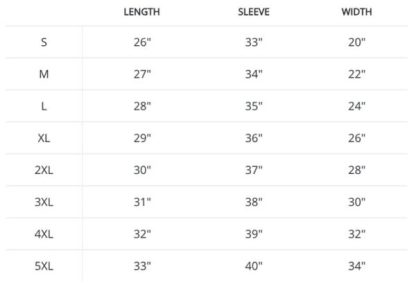Boosters Hoodie Sizing chart