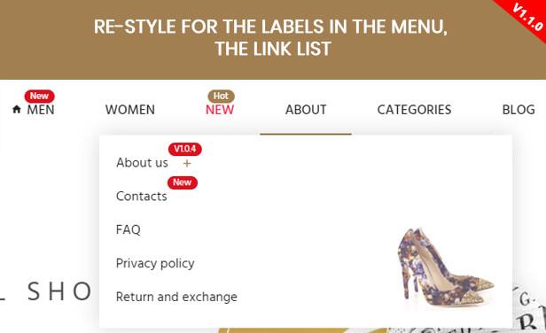 Label menu styles - Highlight menu - Featured Menu