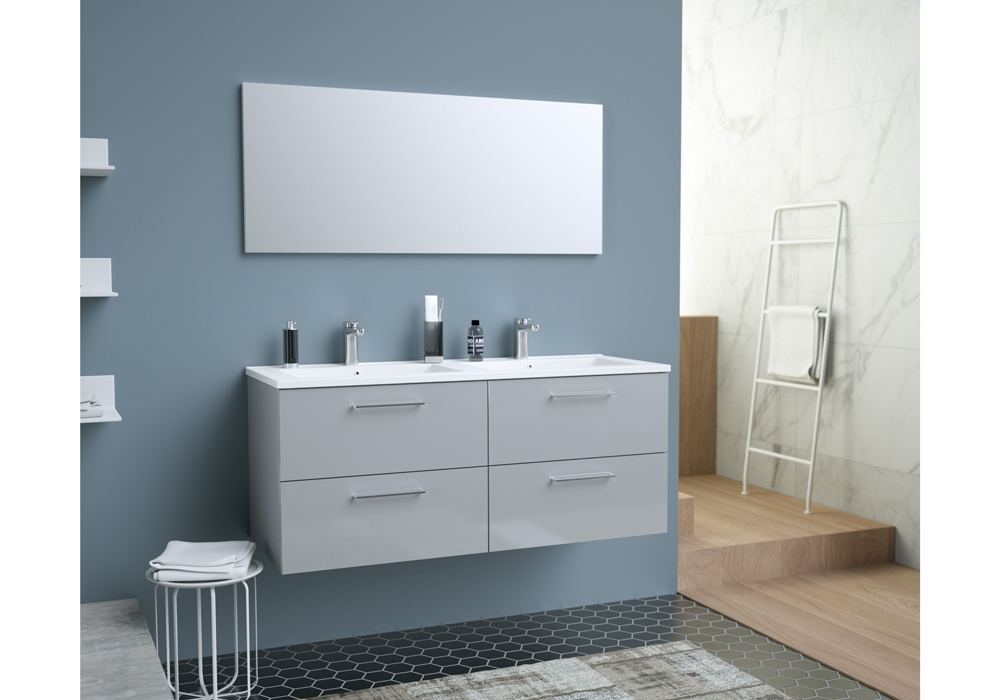 glossy meuble de salle de bain double