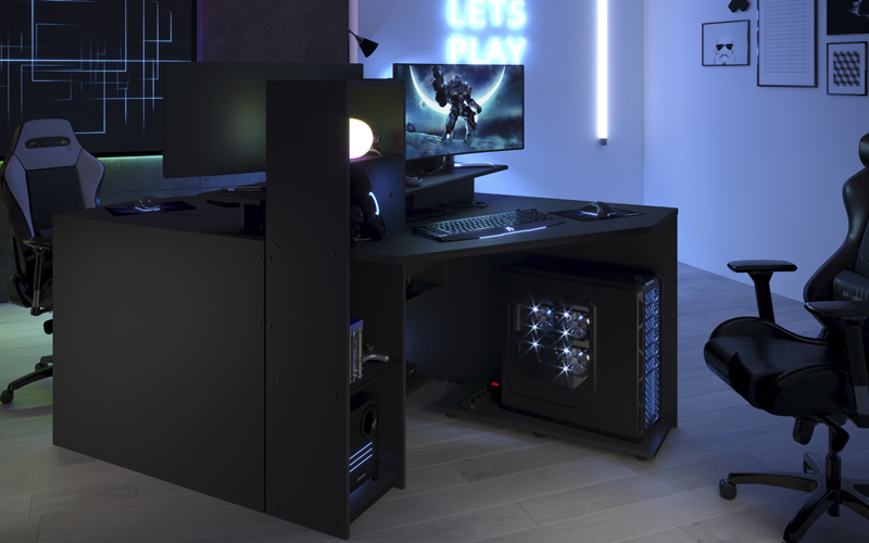 gaming bureau d angle reversible decor gris et noir l 112 x p 90 x h 121 cm