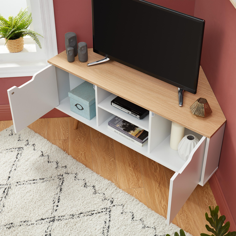 meuble tv angle blanc lyna