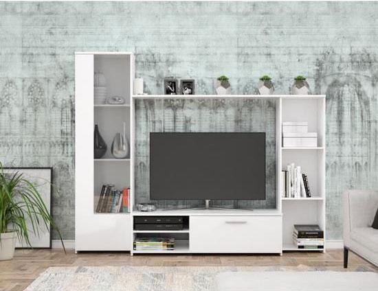 meuble tv blanc mat l 220 4 x p41 3 x h177 5 cm pilvi