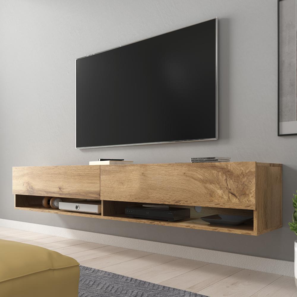 meuble tv meuble de salon wander 180 cm effet chene wotan sans led 2 niches ouvertes style industriel