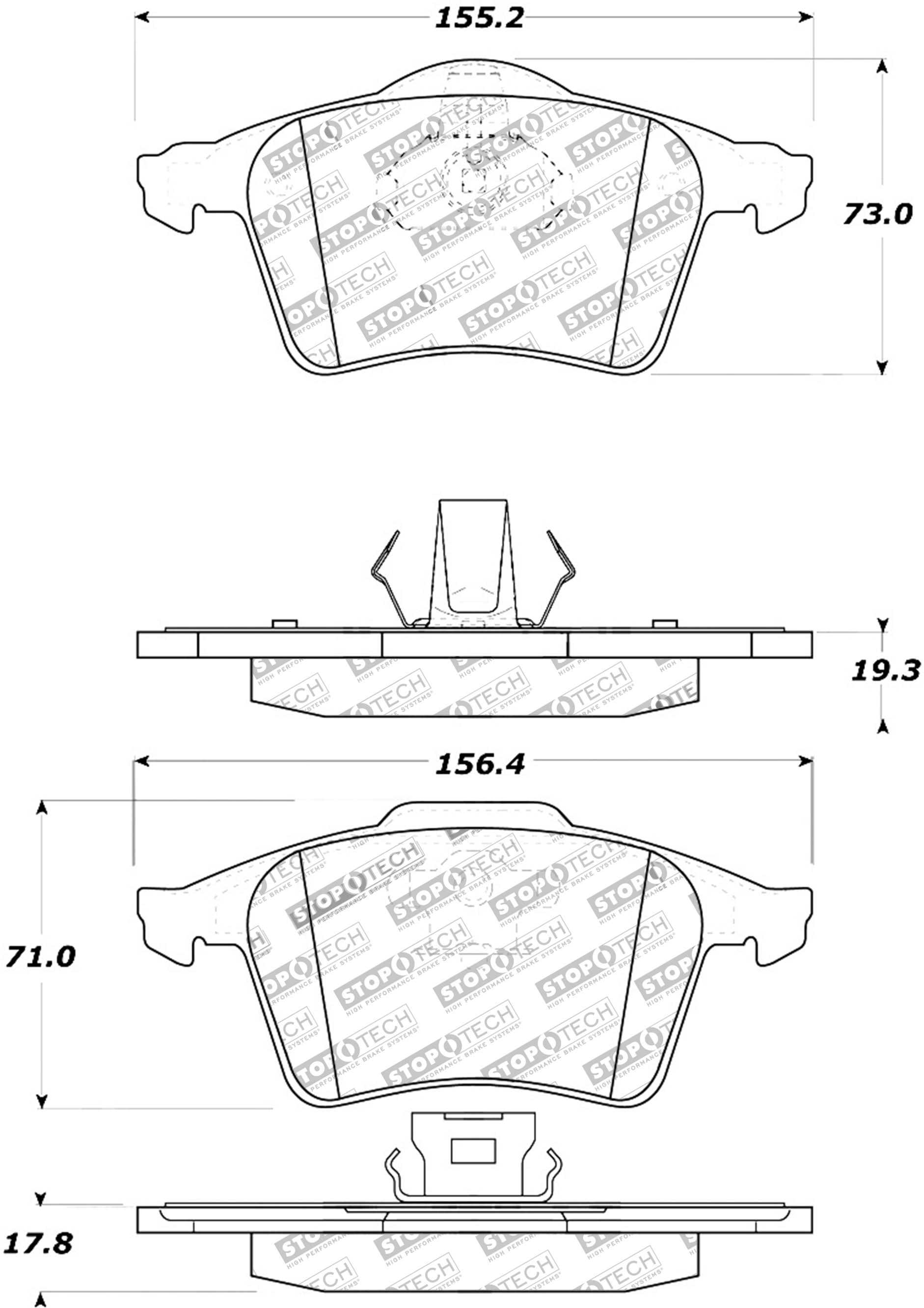 Stoptech Disc Premium Brake Pad Set For 04