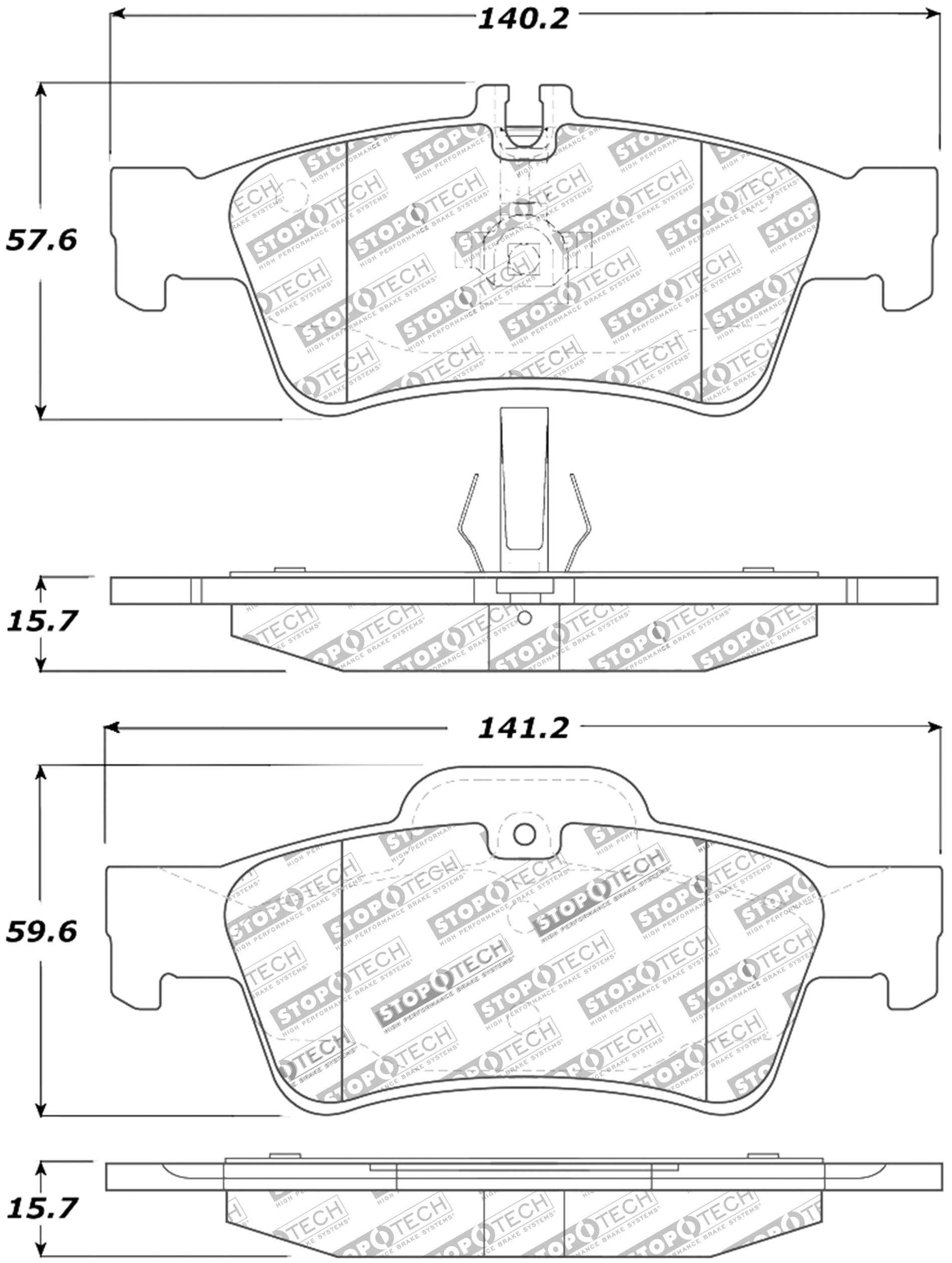 Stoptech Disc Premium Brake Pad Set For 02