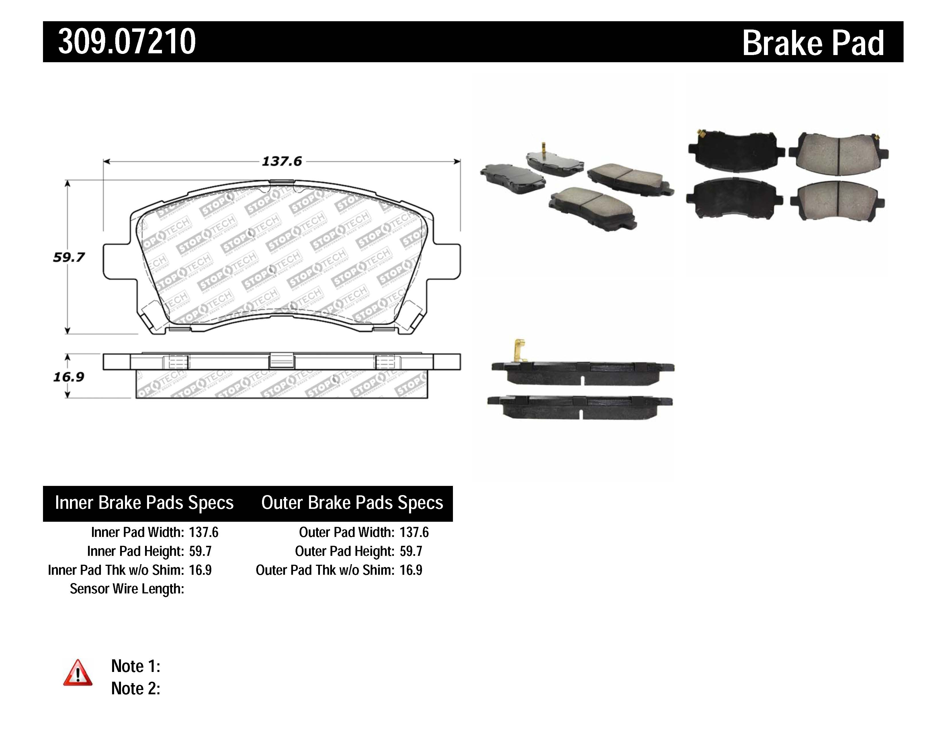 Stoptech Disc Brake Pad Set Front Centric For Subaru
