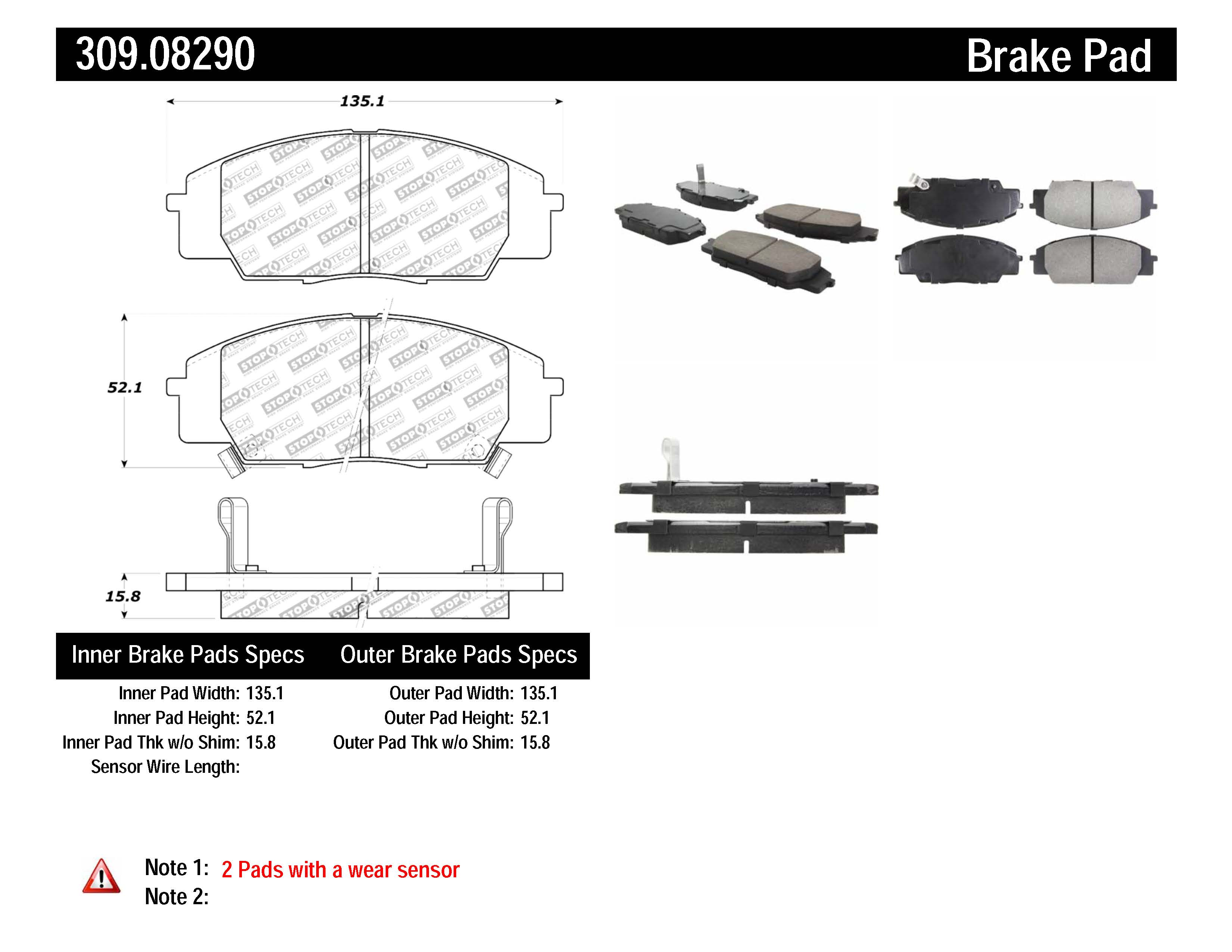 StopTech Disc Brake Pad Set Front Centric for Acura CSX