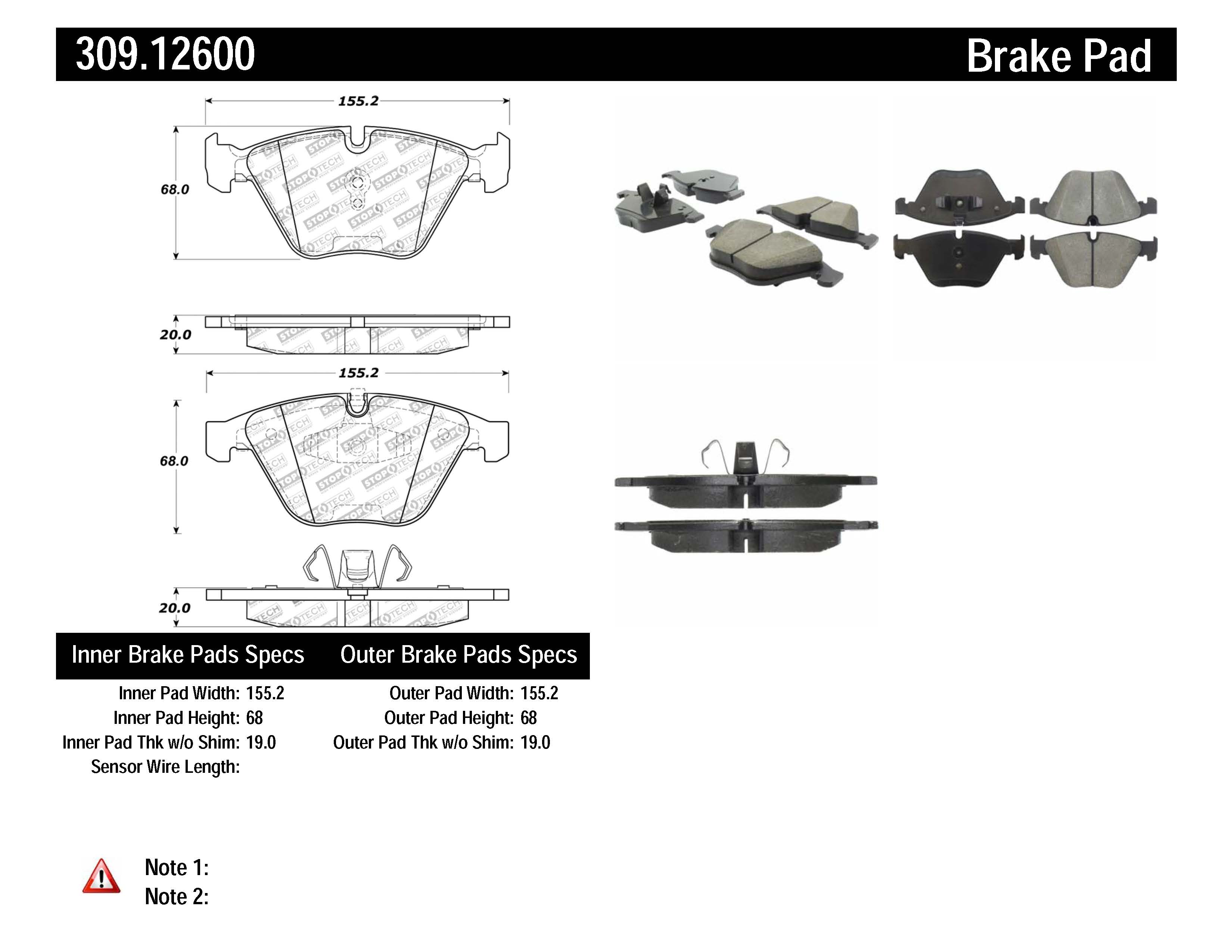 Stoptech Disc Brake Pad Set Front Centric For Bmw 323i