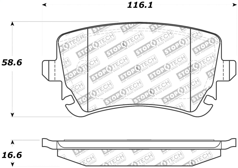 Centric Disc Street Brake Pad Set Rear For 91-15 Audi