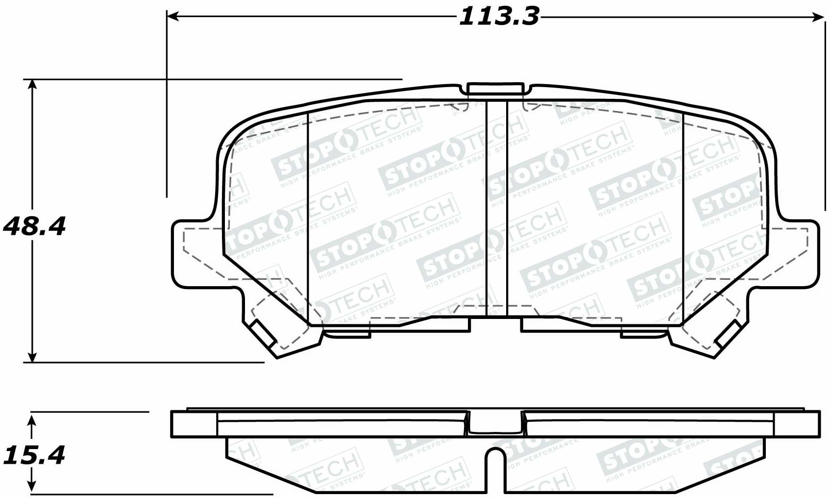 StopTech Disc Brake Pad Set Rear for Honda Pilot, Odyssey