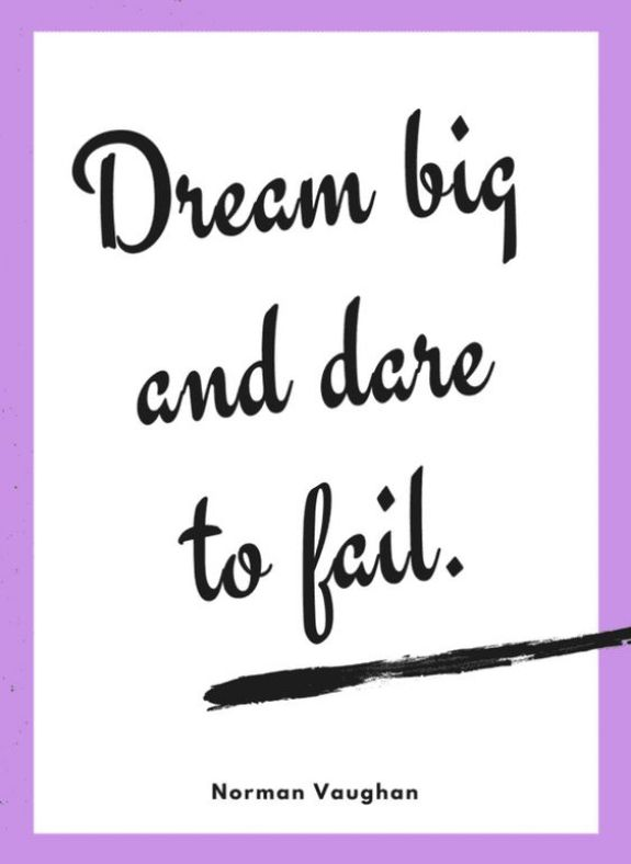 Dream big and dare to fail.