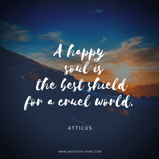 A happy soul is the best shield for a cruel world. - Inspirational Quote By Atticus