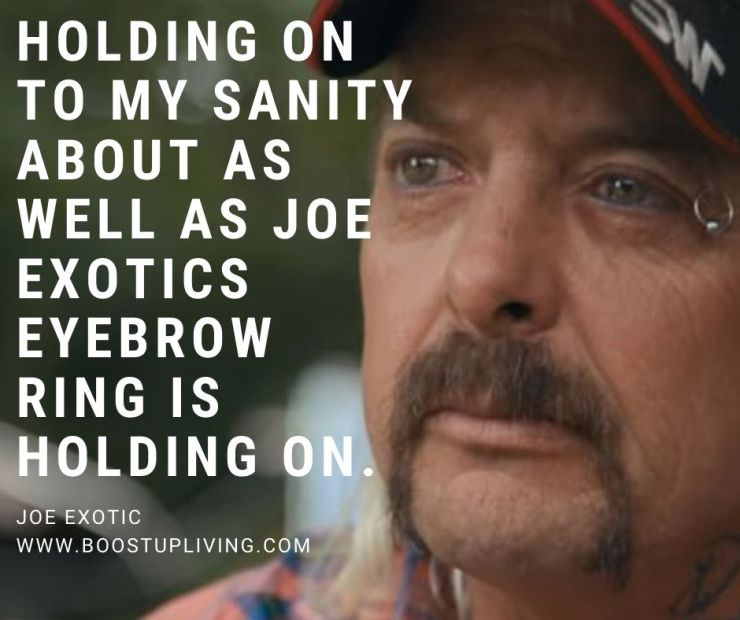 Holding on to my sanity about as well as Joe Exotics eyebrow ring is holding on. By Joe Exotic.