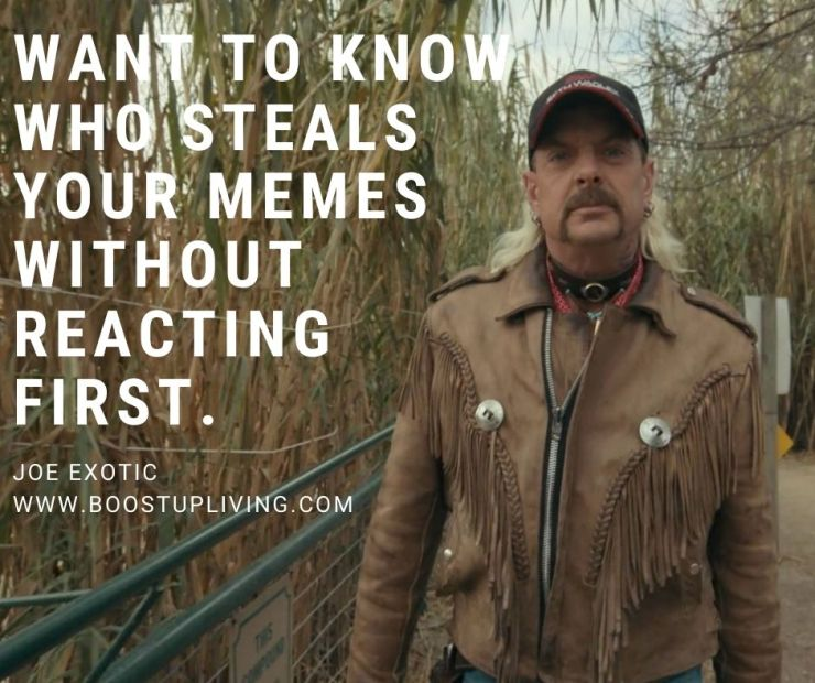 Want to know who steals your memes without reacting first. By Joe Exotic.- Joe Exotic's Best Motivational Quotes