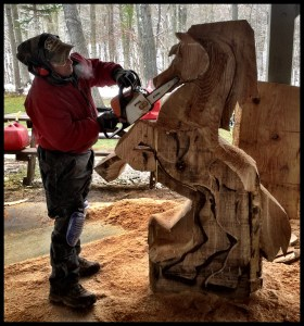 Wood Carving Class - Student with Horse