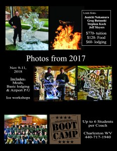 Advanced Ice Carving Boot Camp Flyer - Earn Continuing Education Hours