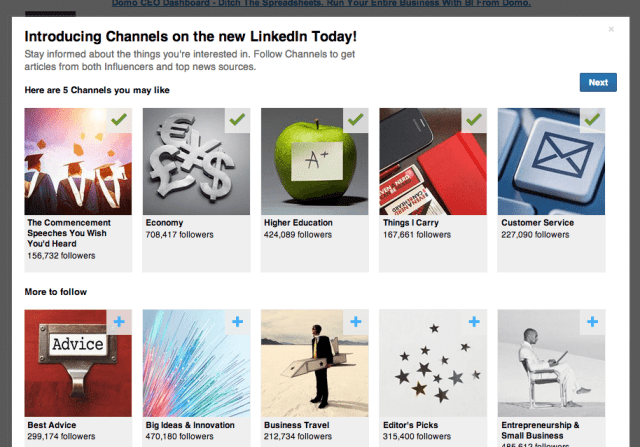 LinkedIn Today News Channels and Categories
