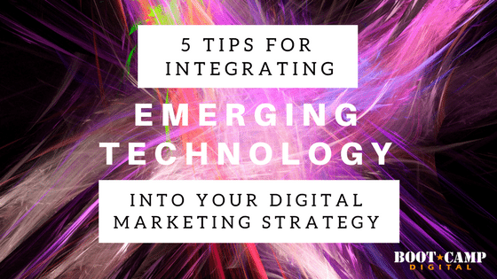 bundles of light strands intersecting to show emerging technologies in a digital marketing strategy