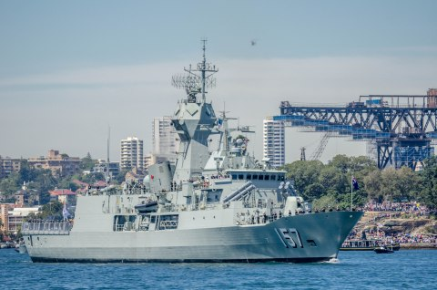 RAN, HMAS Perth (FFH_157), near Garden Island Naval Base
