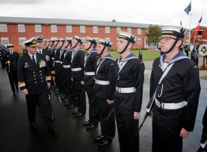 Reviewing Officer for the Graduation Parade, Rear Admiral Tim Barrett, AM, CSC, RAN inspects the graduating recruits of General Entry 314 Shipp Division. *** Local Caption *** The Graduation Parade for General Entry 314, the first Shipp Division, was held on the Recruit School Parade Ground on Fri 30 Aug 2013. 80 Recruits graduated in front of family and friends. The Reviewing Officer for the Graduation Parade was Rear Admiral Tim Barrett, AM, CSC, RAN. Two Bell 429 Helicopters from 723SQN and three S-70B-2 Seahawk Helicopters from 817SQN provided a fly-past as a tribute to the links between Shipp Division and the Fleet Air Arm. Shipp Division is named in honour of Leading Seaman Aircrewman Noel Ervin Shipp, who served in Vietnam with the Second Contingent of the Royal Australian Navy Helicopter Flight in September 1968 and died while engaging the enemy under heavy fire.