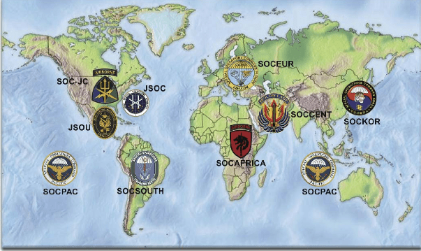 Map, JSOC Sub-commands, TSOC, US, Special Forces