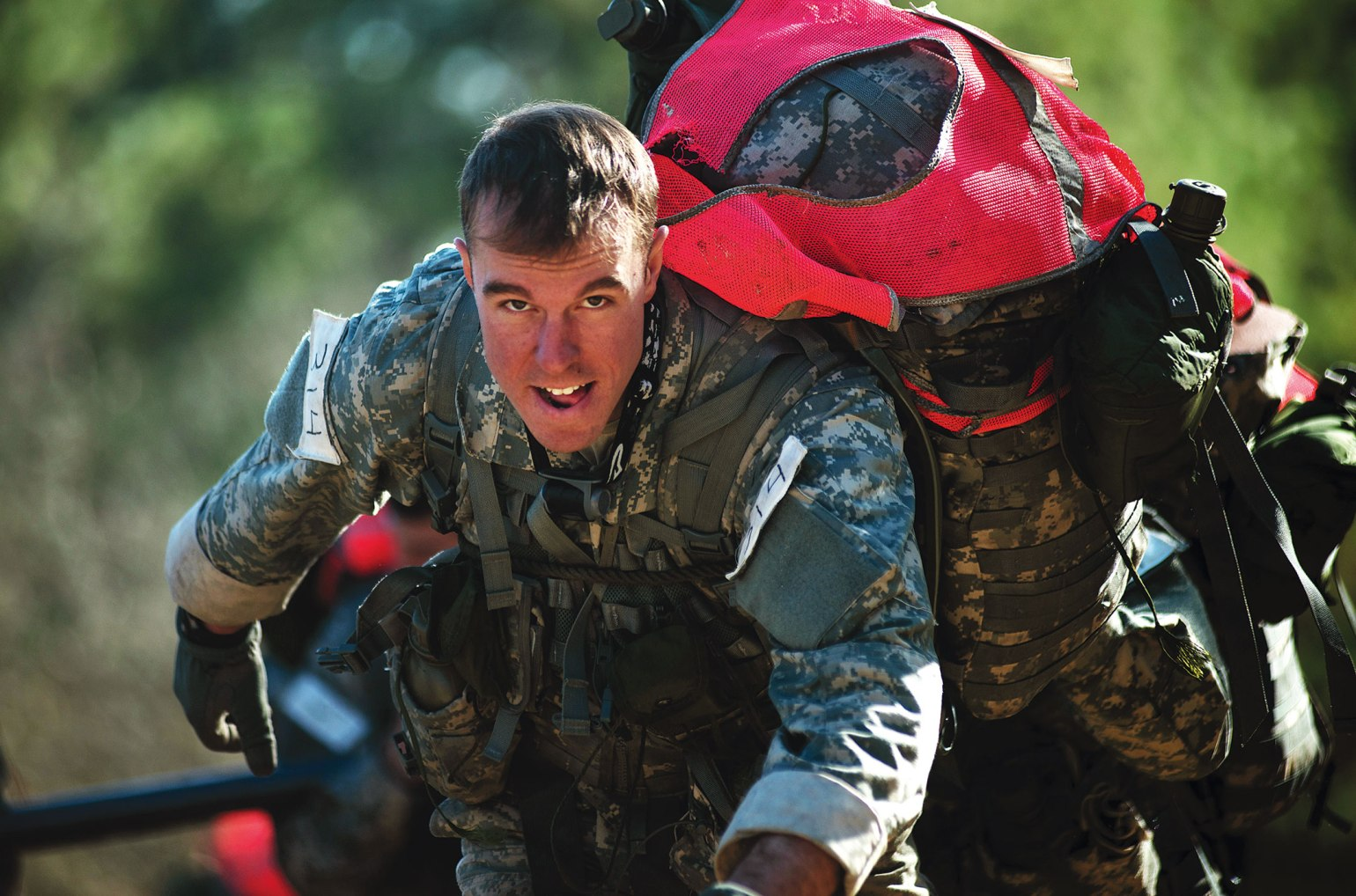 A face of determination on a candidate during the US Army's 'Q' course.