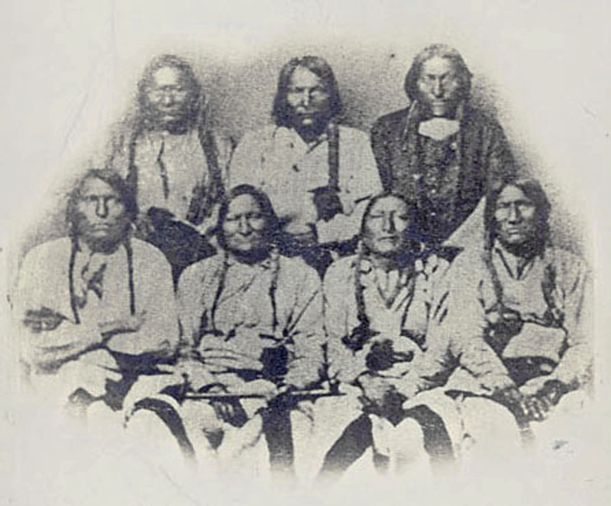 A delegation of Cheyenne, Kiowa, and Arapaho chiefs at Denver, Colorado on September 28, 1864. Black Kettle is second from left in the front row.
