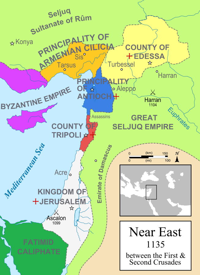 The crusader states after the the First Crusade.