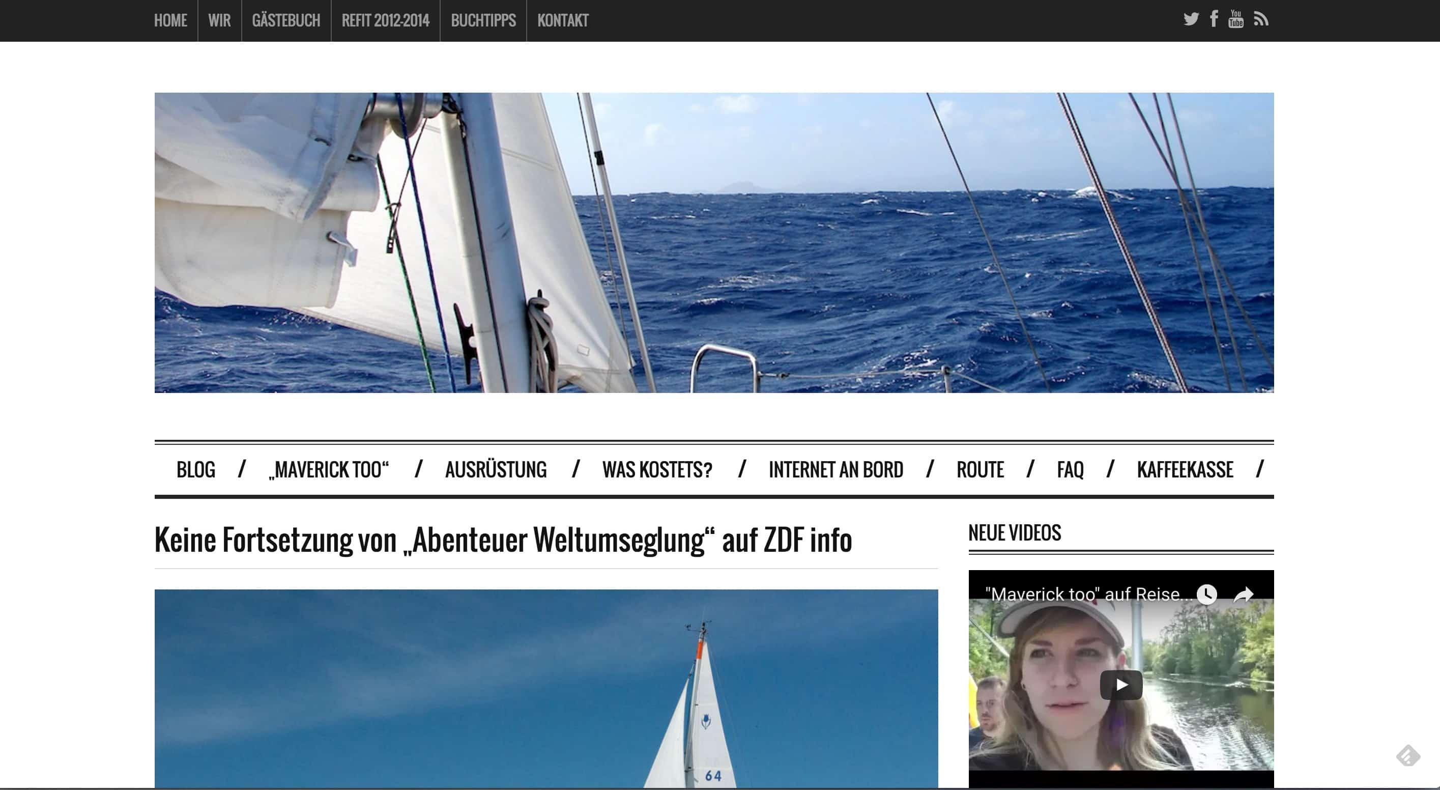 """johannes-erdmann.com - Leider keine Fortsetzung von """"Abenteuer Weltumsegelung"""""""