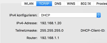 Beispiel für Netzwerk-Einstellungen auf dem Mac.