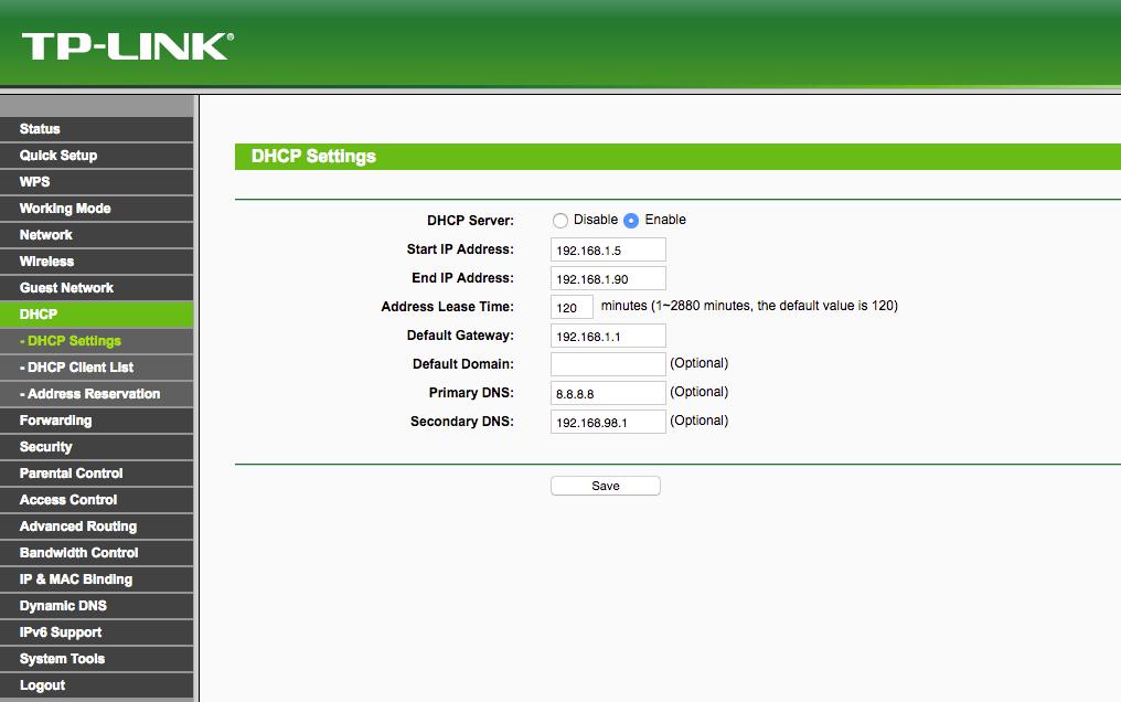 Router DHCP Einstellungen