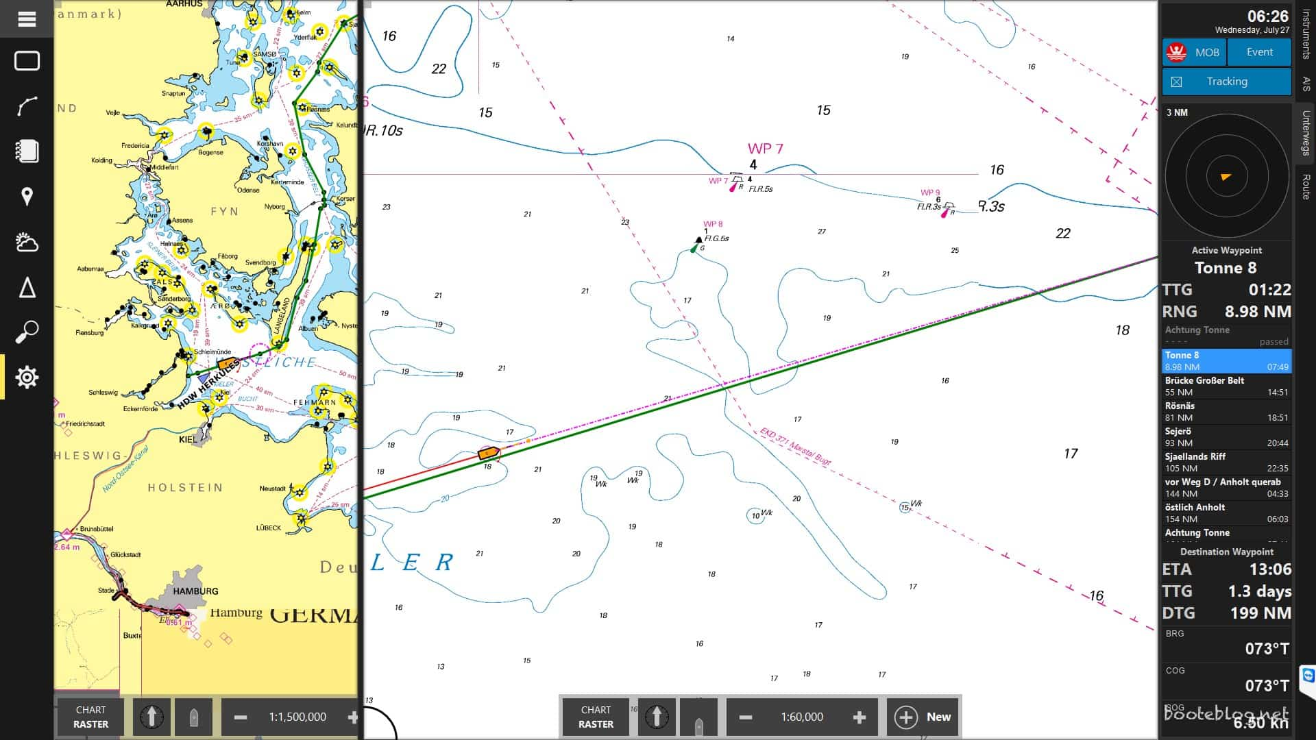 CoastalExplorer Navigation ungefähr eine Stunde nach dem Ablegen: Nur noch 1,3 Tage zu fahren.