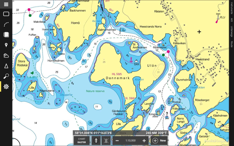 Der Ankerplatz bei Dannemark in der NV Charts Karte.