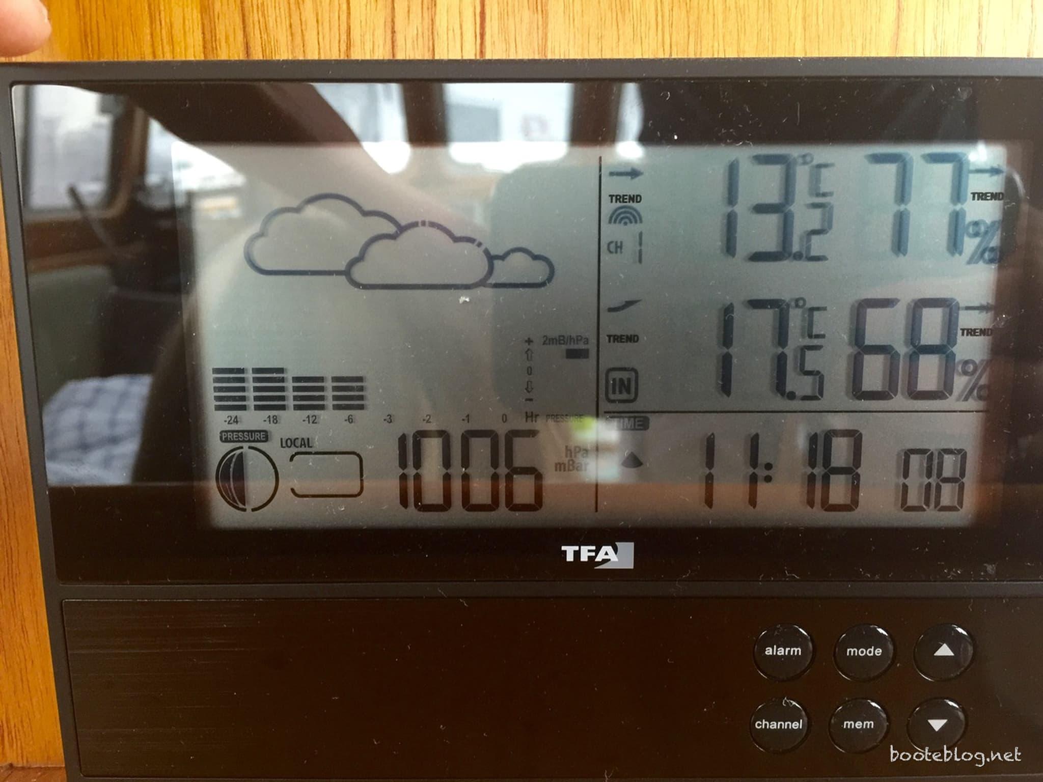 13° Außentemperatur. Morgens im August.