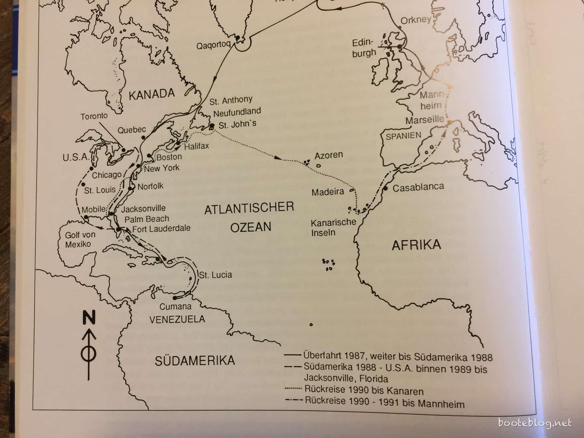 Reiseroute der MANTA von 1997 bis 1991.