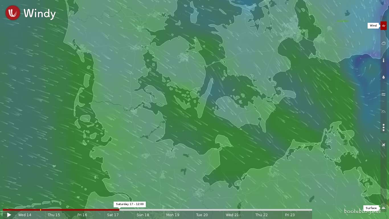 Vorhersage für Samstag, 17. Juni 2017 von windy.com: Der Wind wird nördlicher, nimmt aber ab.