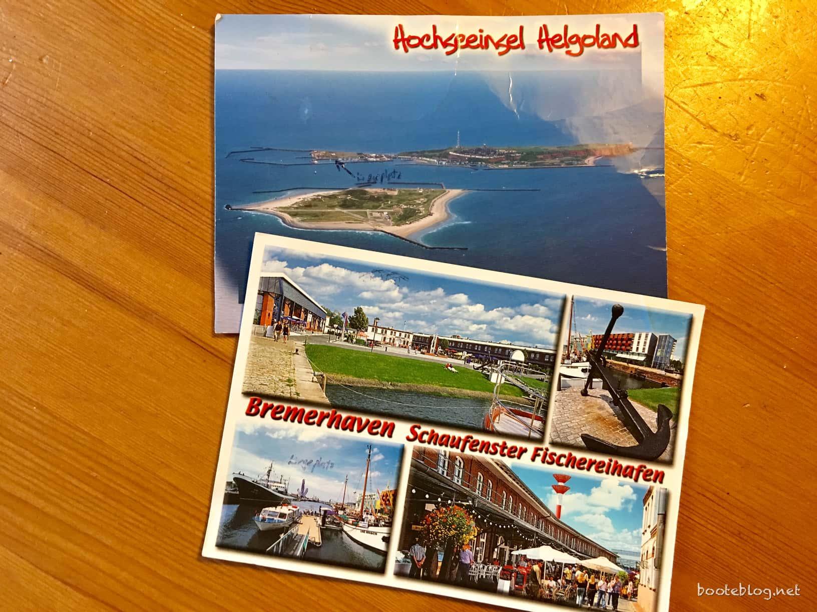 Till schickt mir Postkarten von Helgoland und aus Bremerhaven
