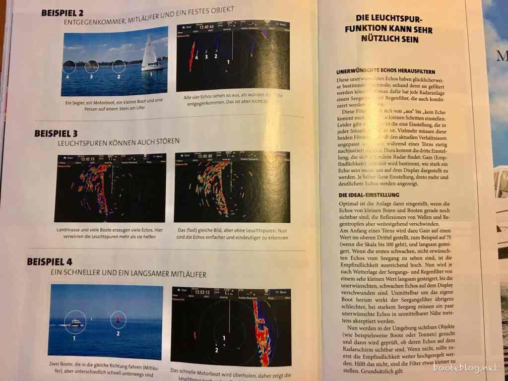Viele Beispiele im Foto und Radarbild zeigen, wie Echos interpretiert werden können.