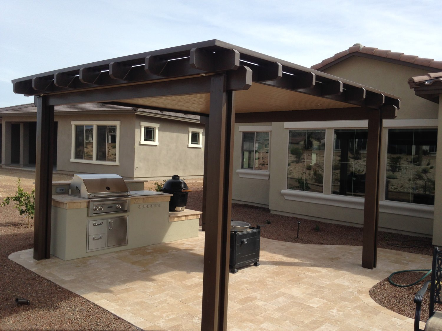free standing patios booth built