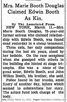 Death of Marie Booth Douglass 1932