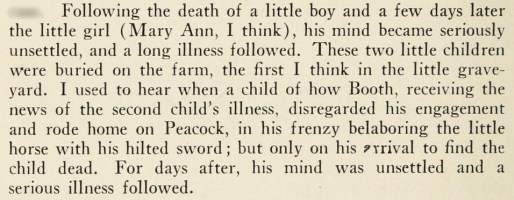 Junius Booth and the death of his children Mahoney